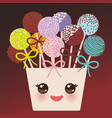 cute funny kawaii colorful sweet cake pops set vector image