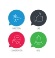 Direction thumb up and conversation icons