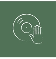 Dj hand with disc icon drawn in chalk vector image vector image