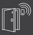 door sensor line icon security and alarm vector image vector image