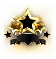 five stars with black ribbon vector image