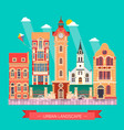 flat design urban landscape and city life building vector image