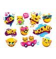 funny emoji set cats vector image vector image