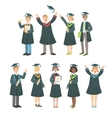 Graduating Students In Black Mantle Set vector image vector image