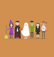 halloween characters set witch dracula ghost vector image vector image