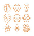 happy halloween celebration icons set color line vector image