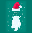 happy new year santa claus cap and white beard vector image vector image