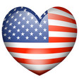 icon design for flag of america in heart shape vector image vector image