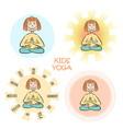 image a cartoon funny girl sitting on lotus vector image vector image