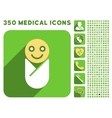 Infant Icon and Medical Longshadow Icon Set vector image