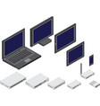 isometric of network devices vector image