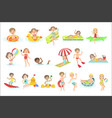 kids playing in the water set vector image vector image