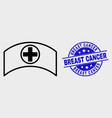 line medical cap icon and grunge breast vector image vector image