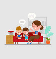 mother teaching her children kids doing homework vector image