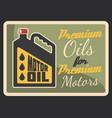 motor oil grunge retro banner car service design vector image vector image