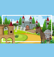 scene with knight and horse castle tower vector image vector image