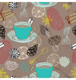 Seamless doodle background with tea vector image vector image