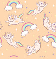 seamless pattern with unicorn cats graphics vector image
