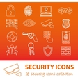 security outline icons vector image vector image