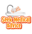 seek medical advice font in cartoon style vector image