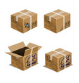set carton boxes for transporting animals vector image