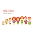 set cute pretty women age flat icons vector image vector image