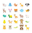 set of animals flat icons vector image