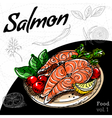 Set of hand drawing food Salmon grill vector image