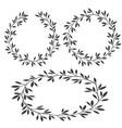 set of silhouettes vintage floral frames laurel vector image