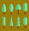 set of simple tree icons flat style vector image