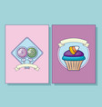 set of sweet lollipops and cupcake with ribbon vector image