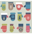 Set of winter mittens vector image vector image