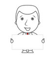 smiling businessman line cartoon holding a blank s vector image vector image