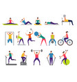sport activities active people making fitness vector image vector image