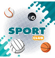 sport club balls green splash background im vector image vector image