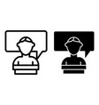 student and dialogue line and glyph icon speech vector image vector image