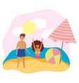 summer people activities boy and girl with ball vector image