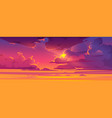 sunset sky with sun peek out fluffy clouds vector image vector image