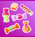 sweet cartoon sticker candy set collection vector image