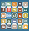 transportation flat icons on blue background vector image vector image