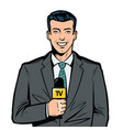 tv presenter with microphone in hand breaking vector image vector image