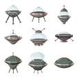 ufo set alien spaceships cartoon style isolated vector image vector image