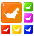 united arab emirates map icons set color vector image vector image