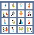 Various Dance Styles Flat Icons vector image