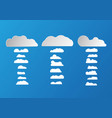 white and grey flat clouds isolated on blue vector image