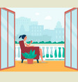 woman character sitting on balcony or outdoor vector image