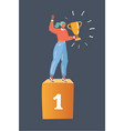 woman winner standing in first place vector image vector image