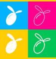 olive sign four styles of icon on vector image
