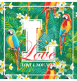 Vintage Tropical Leaves Flowers and Parrot Bird vector image