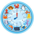 a clock with sea creature template vector image